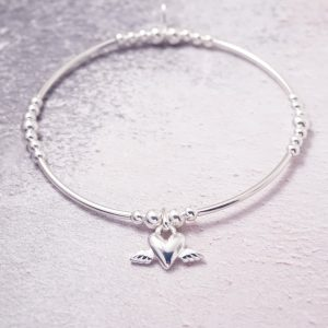Sterling Silver Stretch Noodle Bracelet with Heart Wings Charm