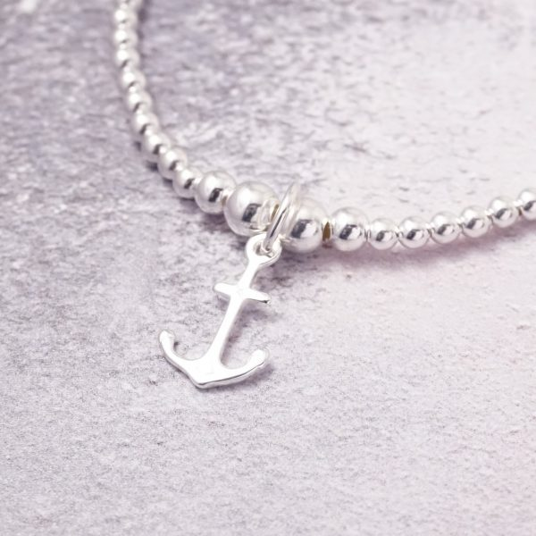 Sterling Silver Stretch Bracelet with Anchor Charm