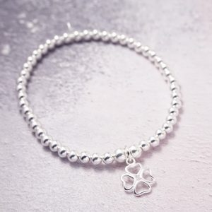Sterling Silver Stretch Bracelet with Four Leaf Clover Charm