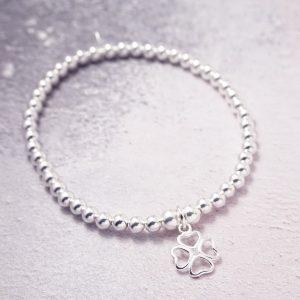 Sterling Silver Stretch Bracelet with Four Leaf Clover Charm