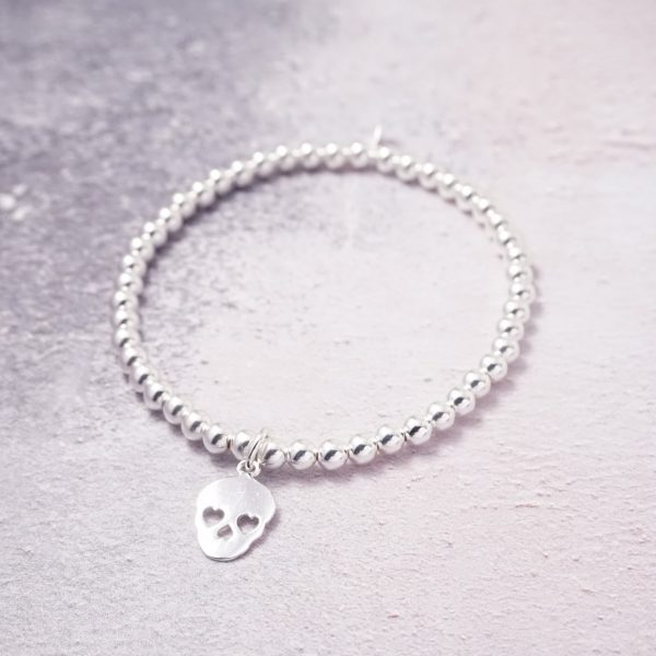 Sterling Silver Stretch Bracelet with Candy Skull Charm
