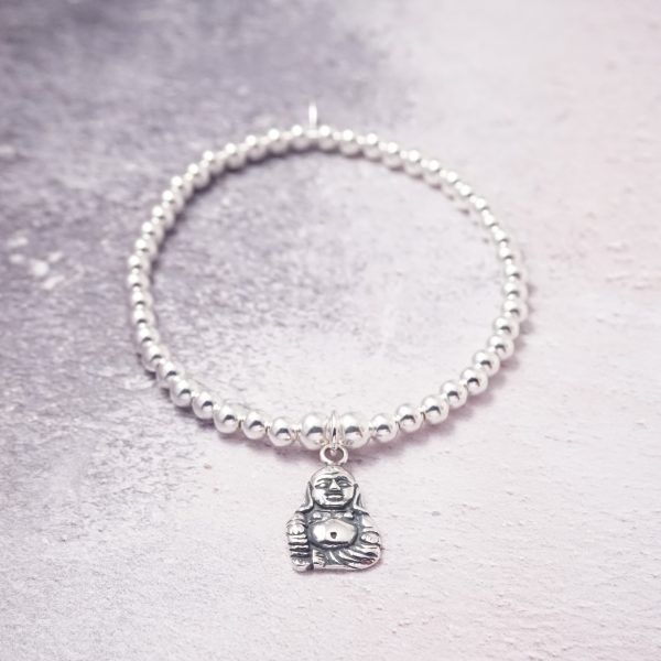 Sterling Silver Stretch Bracelet with Buddha Charm