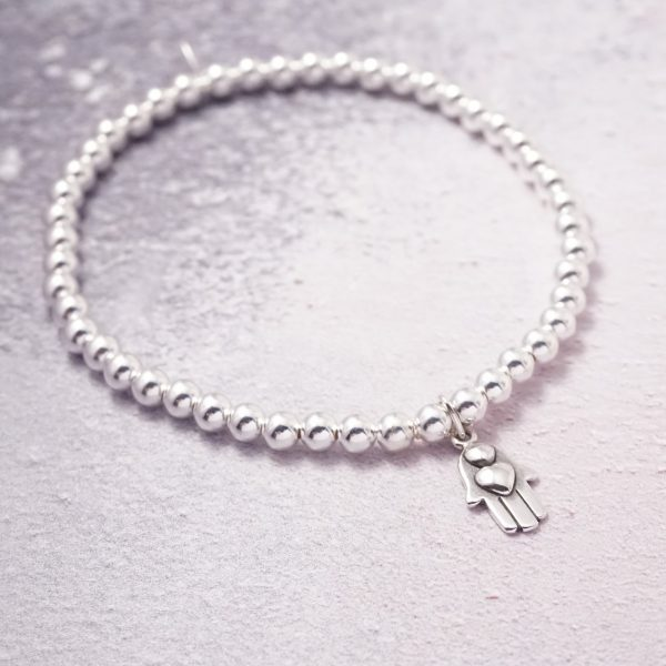 Sterling Silver Stretch Bracelet with Hand in Heart Charm