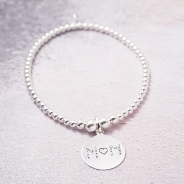 Sterling Silver Stretch Bracelet with Mum Engraved Disc