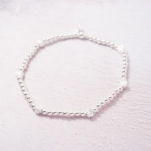 Sterling Silver Stretch Bracelet with Rose Bud Beads