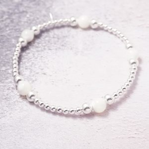 Sterling Silver and Mother of Pearl Stretch Stack Bracelet
