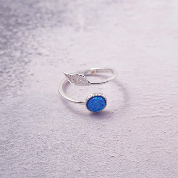Sterling Silver Adustable Feather Ring with Opal Ocean Blue Gemstone