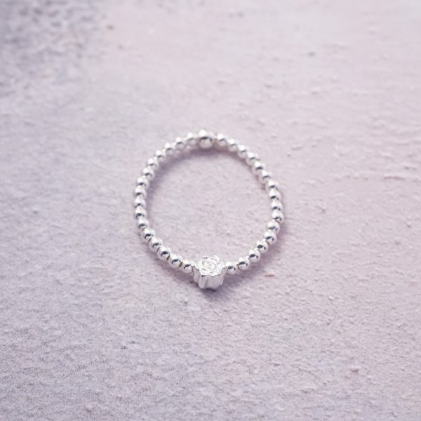 Sterling Silver Stretch Ring with Rose Bud Bead