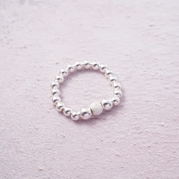 Sterling Silver Stretch Ring with Stardust Bead