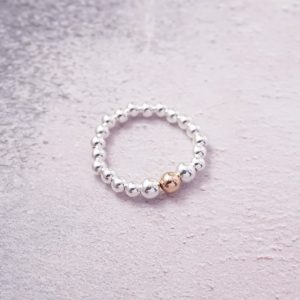 sterling silver ring with rose gold bead