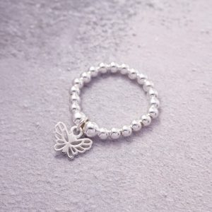 Sterling Silver ring with butterfly charm