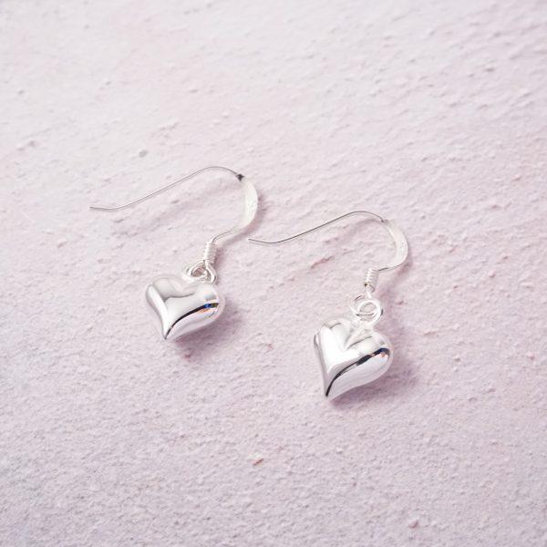 sterling silver heart hook earrings