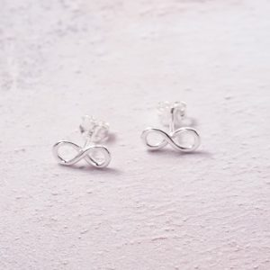 Sterling Silver Infinity Stud Earrings