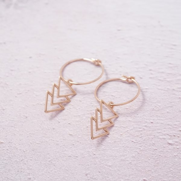 rose gold triangle hoop earrings