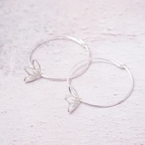 sterling silver cherry blossom hoop earrings