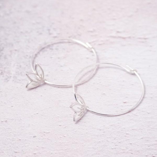 sterling silver cherry blossom hoop earrings