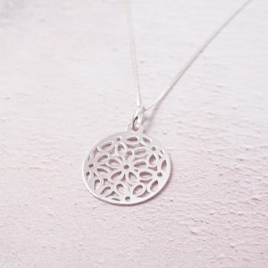Sterling Silver Necklace with Circle of Flowers Charm