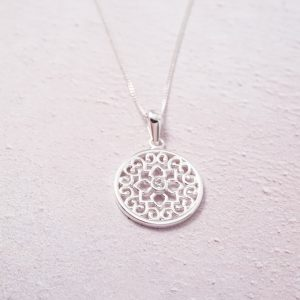 Sterling Silver Necklace with Mandala Design Charm