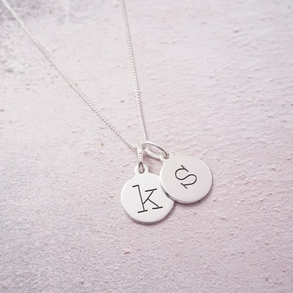 Sterling Silver Necklace with Two Lowercase Initial Charms
