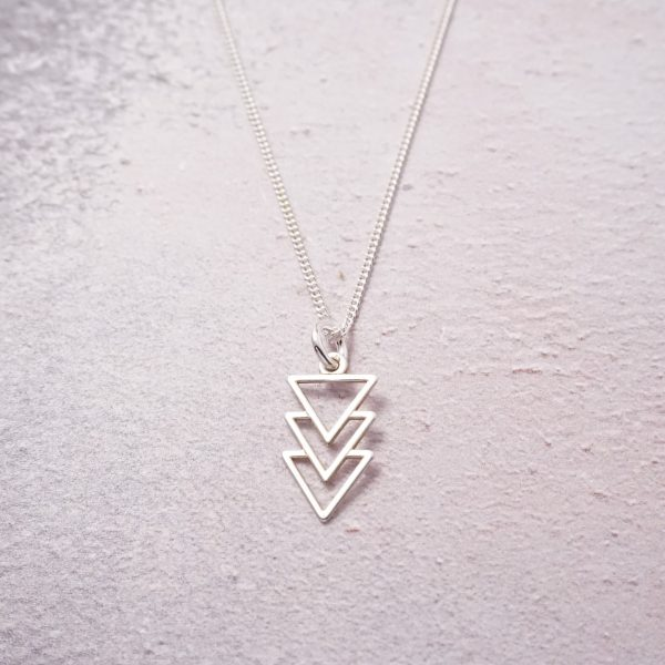 Sterling Silver Necklace with Triple Triangle Charm