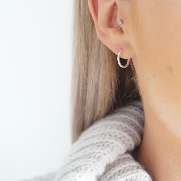 Sterling silver 12mm small hoop earrings