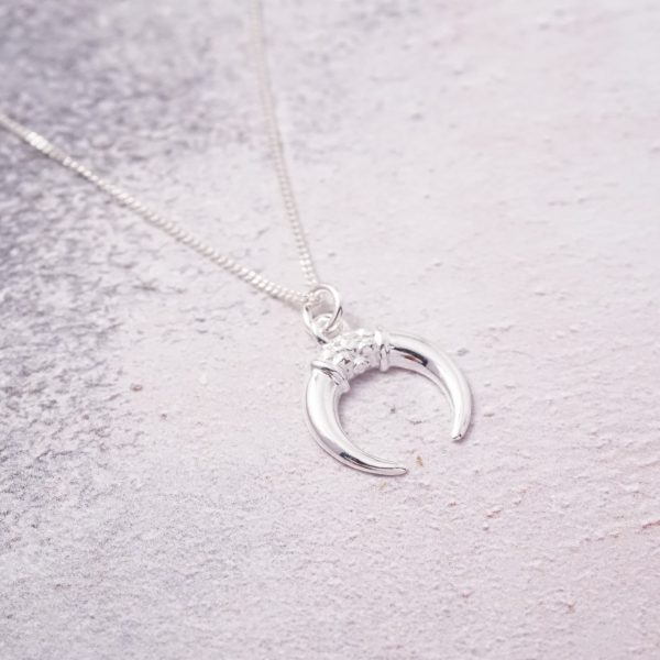 sterling silver ox horn necklace