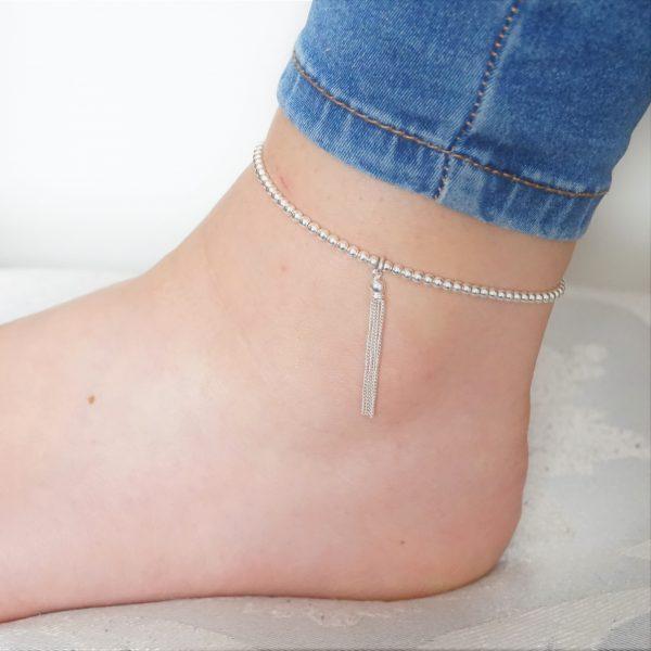 Sterling silver tassel anklet