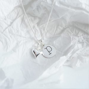 Sterling silver necklace with lowercase initial and heart charm