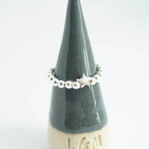 Sterling Silver Stretch Ring with Star Bead