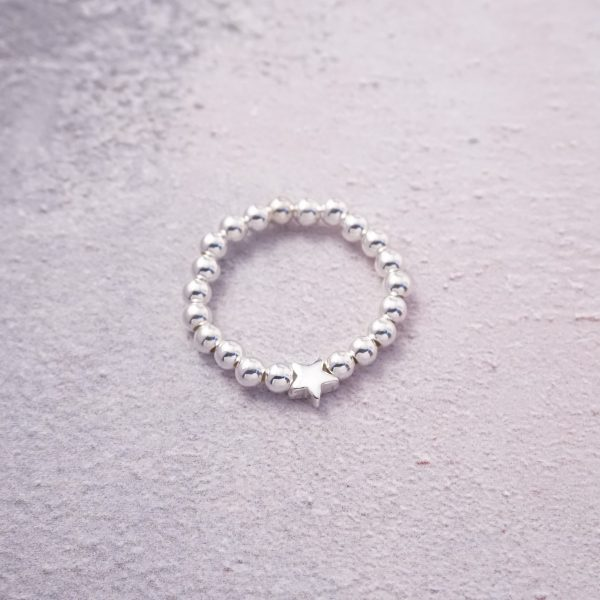 sterling silver star bead ring