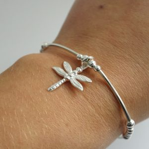 Sterling Silver Noodle Bracelet with Dragonfly Charm