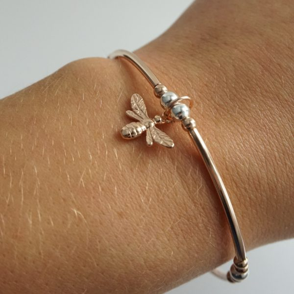 Rose Gold Stretch Noodle Bracelet with Bumble Bee Charm