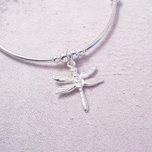 sterling silver dragonfly noodle bracelet