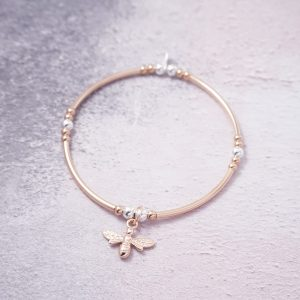 rose gold bracelet with bumble bee charm