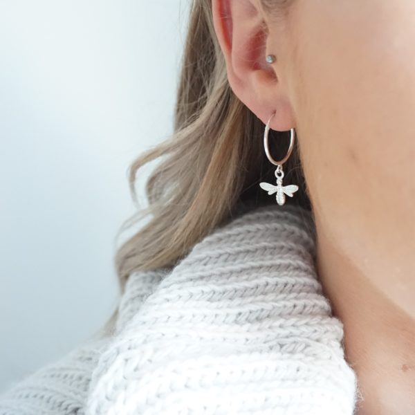 Sterling silver bee hoop earrings