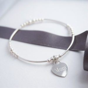 Sterling silver noodle bracelet with mum engraved heartc harm