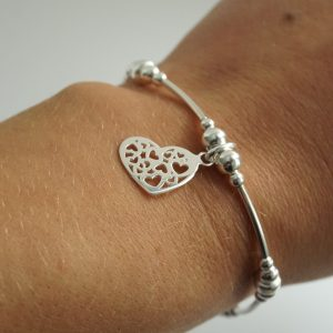 Sterling Silver Stretch Noodle Bracelet with Hearts in Heart Charm