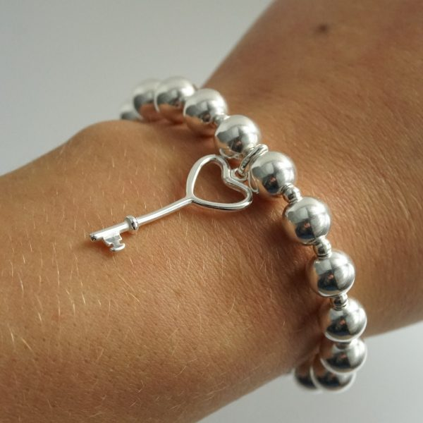 Sterling Silver Chunky Stretch Bracelet with Key Charm