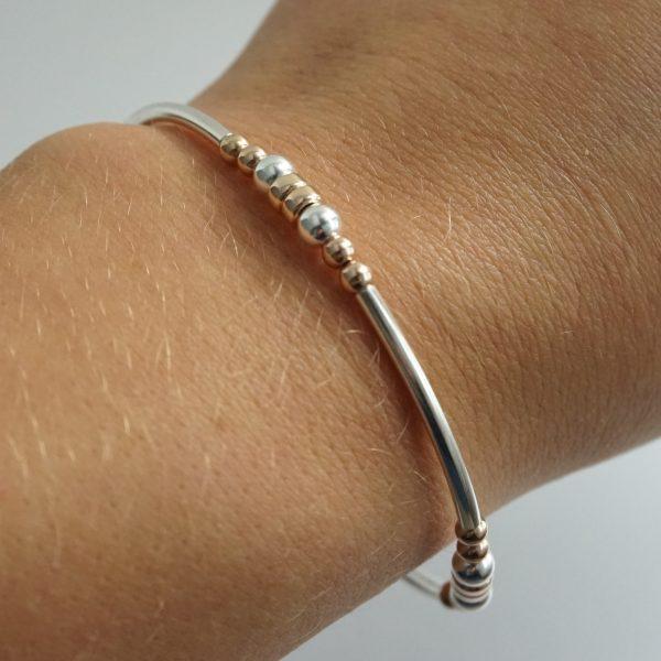 Sterling Silver and Rose Gold Stretch Noodle Bracelet