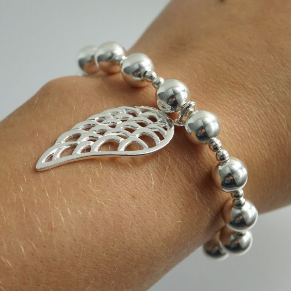 Sterling Silver Chunky Stretch Bracelet with Large Angel Wing Charm