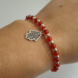 Sterling Silver Stretch Bracelet with Carnelian Gemstone Beads and Hamsa Hand Charm