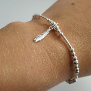 Sterling Silver Stretch Noodle Bracelet with Feather Charm