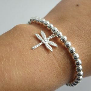 Sterling Silver Stretch Bracelet with Dragonfly Charm
