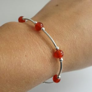 Sterling Silver and Carnelian Gemstone Stretch Noodle Bracelet