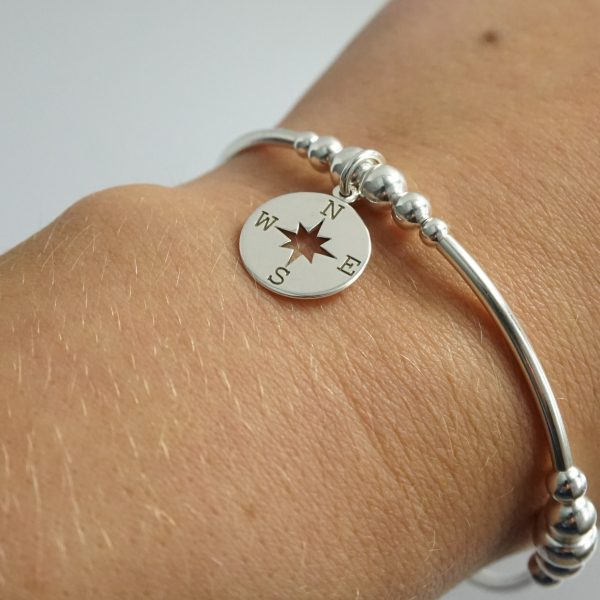 Sterling Silver Stretch Chunky Noodle Bracelet with Compass Charm