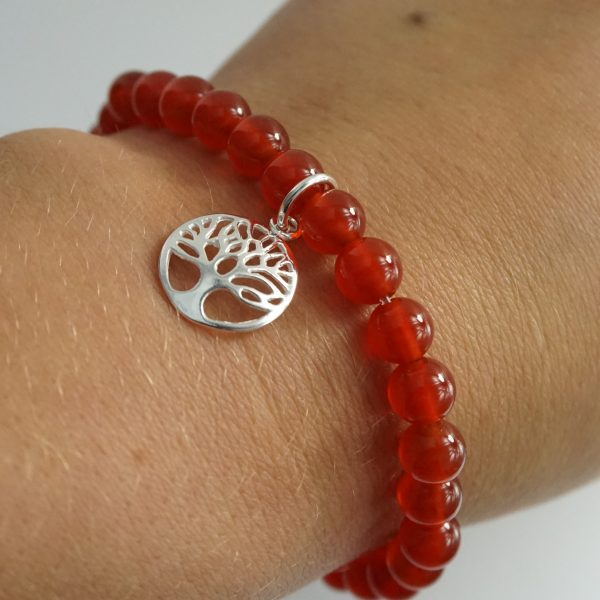 Sterling Silver Stretch Bracelet with Carnelian Gemstone Beads and Circle Tree of Life Charm