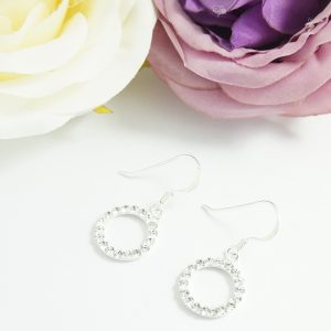Sterling Silver Hook Earrings with Crystal Circles
