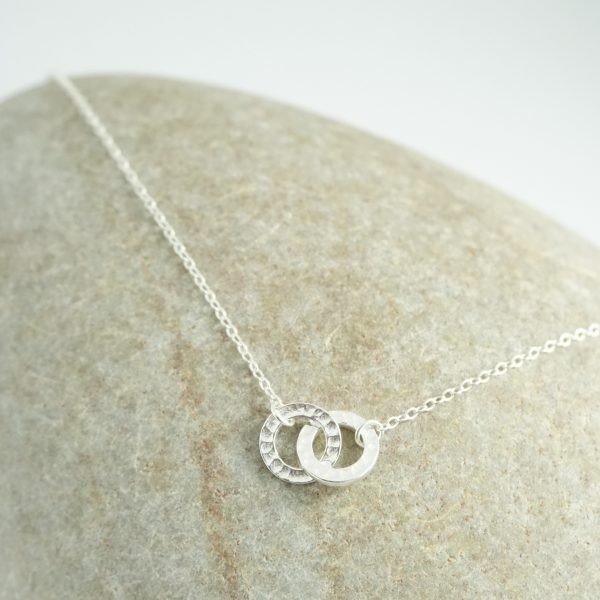 Sterling silver adjustable necklace with eternity rings