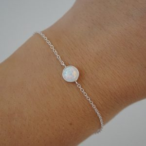 Sterling Silver Adjustable Chain Bracelet with Opal Fire Snow Stone