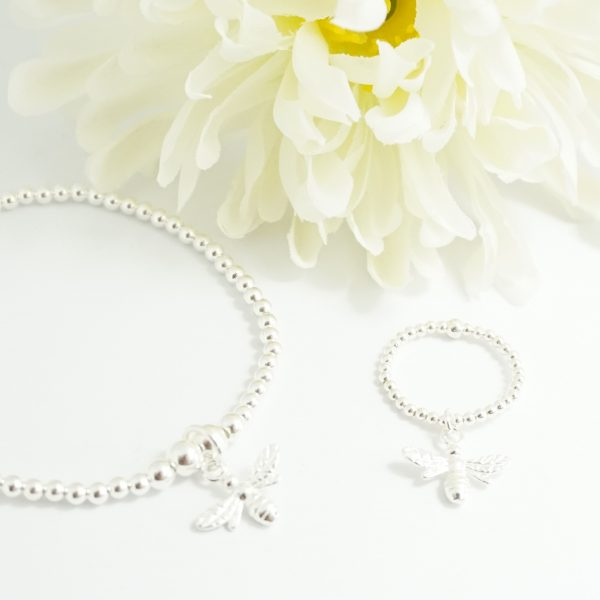 Sterling Silver stretch bumble bee bracelet and bumble bee ring
